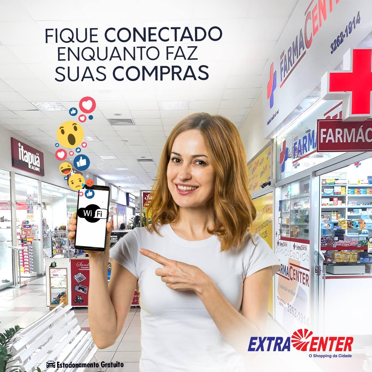 Continuar conectado enquanto faz suas compras? ?? No ExtraCenter isso não é problema. Desfrute da nossa comodidade usando nosso wifi!